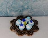 Blue cupcakes tray