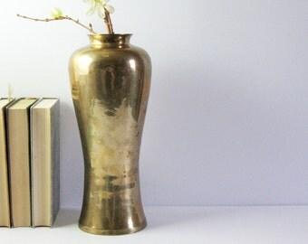 Vintage Brass Vase - Tall Flower Vase - Brass Home Decor - Heavy Brass Vase - Fall Home Decor - Hollywood Regency Ginger Jar - Made in India