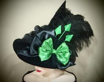 "Couture Witch Hat ""Simple Green"""