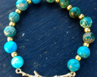 Turquoise and Gold Beaded Branch Bracelet