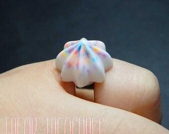 Kawaii resin funfetti whipped cream adjustable ring.