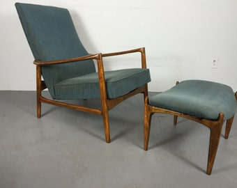 Mid Century Danish Lounger Chair and Ottoman by IB Kofod Larsen for Selig