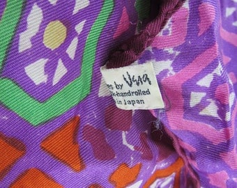 VERA Lady Bug Silk Scarf Vintage Hand Rolled Silk Made in Japan