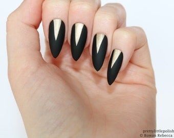 Pointy nails etsy matte black gold stiletto nails nail designs nail art nails stiletto nails prinsesfo Choice Image