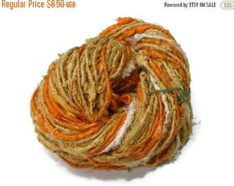 SALE Sari Silk recycled Yarn,  Yukon Gold