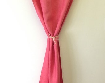 100 linen curtain  hand dye scarlet red