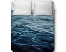 Dark Waters - Duvet Cover, Deep Ocean Blue Coastal Waters Bedding, Nautical Loft Cottage Home Beach Surf Decor Cobalt Blue Bedroom Interiors