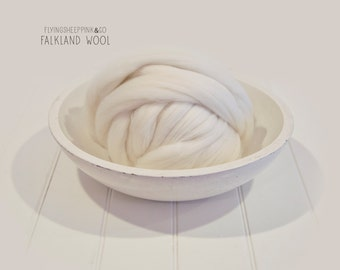 One Pound Falkland Top Roving Wool  Spinning Felting Undyed Fiber
