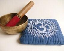 Blue Om singing bowl cushion, meditation bell mat, linen hand printed & quilted altar / sacred space display mat, zen meditation room decor