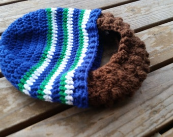 Crochet retro seahawks inspired beard beanie