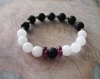 Black lava rock & white jade bracelet
