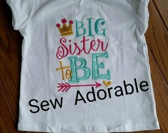 Big Sister to Be shirt, big sister shirt, big sis,