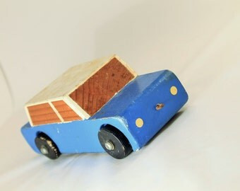 Wooden Car, Wooden Toy, Blue Wooden Toy Car