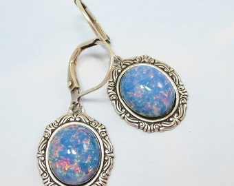 Blue Fire Opal Earrings Dangles Light Blue Opal Jewelry Fantasy Mystical
