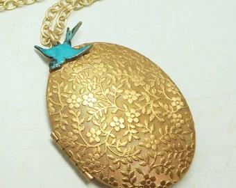 Blue Bird Locket Floral Locket Brass Oval Locket Flower Necklace Pendant