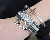 5 Strand Charcoal Gray and Silver Faith, Cross, Infinity, Love Bracelet - 5 Strand Leather Wrapped Faith, Cross, and Infinity Bracelet