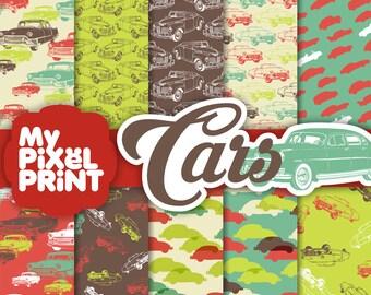 Cars - Green Red Brown - Travel - Digital Scrapbooking Paper Pack - My Pixel Print