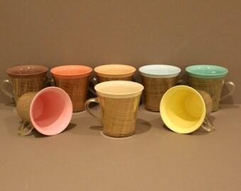 Vintage Set of 8 Raffiaware Mugs, Raffiaware Thermo Temp Plastic Cups, Vintage Mid Century Melamine Insulated Cups, Burlap and Pastel Colors