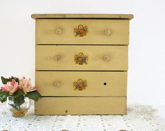 Vintage Wooden Dresser, Wood Doll Storage Chest of Drawers, Shabby Chic Wood Toy Furniture, American Girl Doll Toy Dresser