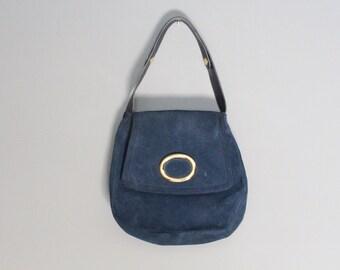 Vintage Navy Suede Shoulder Bag Morris Moskowitz