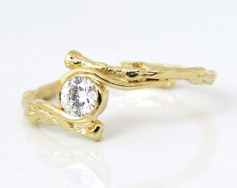 Diamond engagement ring, Twig engagement ring, Natural Engagement Ring, 14k Gold Diamond Ring, Diamond Gold Ring, Unique Engagement Ring