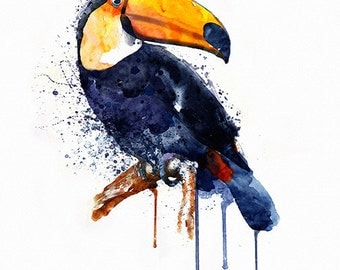 Toucan Watercolor painting Wildlife Wall art Printable art Square painting Bird art Toucan decor Aquarelle Toucan painting Watercolor poster
