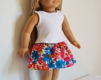 """Handmade Doll Clothes White Top with Floral Skirt fit 18"""" American Girl Dolls TS1"""