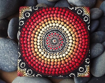 "Biripi Artist Raechel Saunders 4"" x 4"" Fire Design Dot Art canvas board, Australian Aboriginal Acrylic Painting, Biripi Art"