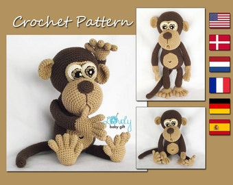 Amigurumi Pattern, Monkey, Animal Crochet Pattern, CP-147