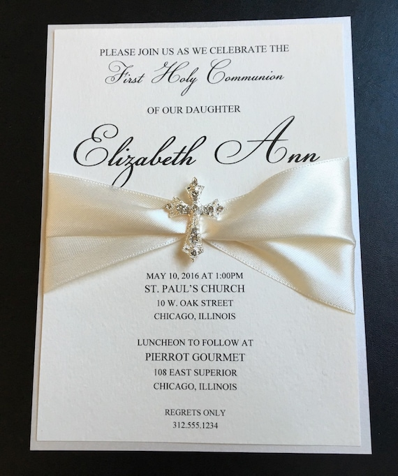 Cream Embellished Luxury First Communion Invitation Baptism