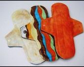 "10"" Medium Flow Minky Cloth Pads, Size 2 - Set of THREE - Reusable Cloth Menstrual Pads"