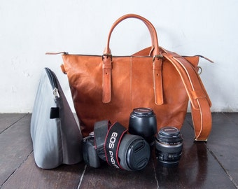 Dslr Camera Bag with Insert with shoulder strap - genuine Leather shoulder bag - tote bag - Leather with canvas lining - Tanned