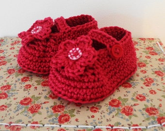 Crochet Red Baby Girl shoes