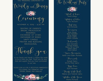 Printable wedding program, Wedding program, Navy wedding program, Custom wedding program, Gold wedding program, Floral wedding program