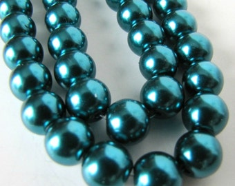 10 mm Teal Celestial Pearls, Faux Pearl Beads , Faux Pearls, Glass Pearls. 16 inch strand  Item #602