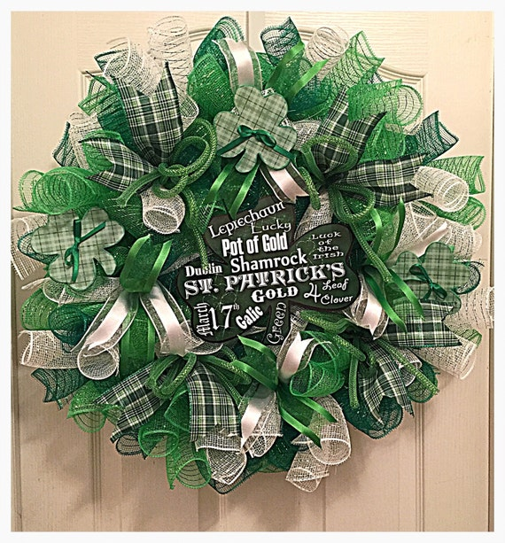 st patrick 39 s day deco mesh wreath saint by ckdazzlingdesign. Black Bedroom Furniture Sets. Home Design Ideas