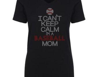 Keep Calm BASEBALL Mom Hot Fix Rhinestones