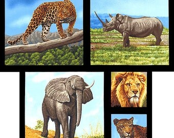 African Animals Nature Studies 2 Elephants, Lions, Rhino Robert Kaufman Fabric Panel Free Post