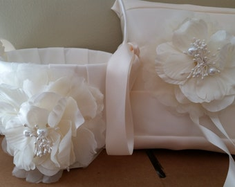 SALE - Wedding Flower Basket, Flower Girl Basket, Flower Basket & Ring Bearer Pillow Set - Style BKBPF103