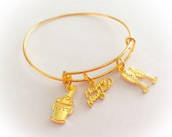 Happy New Year, happy new year jewelry, new year, happy new year bangle, holiday jewelry, holiday bracelet, holiday bangle