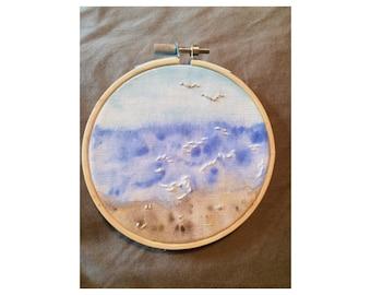 Landscape Beach Scene Hand Embroidery