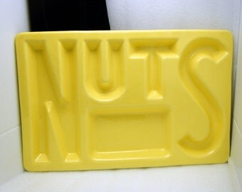 Vintage California Pottery Tray Spells NUTS Bar Kitchen Serving Yellow