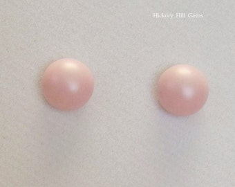 Pink Earrings 8mm Pink Studs Swarovski Elements PASTEL ROSE pale blush light pink cabochon stud Steel posts, Easter Spring stud earrings