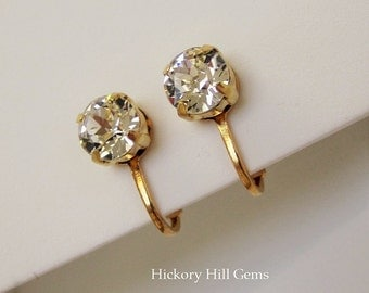 Rhinestone Clip-on Earrings Faux diamond clip-on earrings Non-pierced earrings Clear faceted stone Crystal clip-on earrings GOLD plt., New