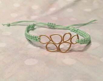 Gold Bubbles in Mint Macrame Bracelet