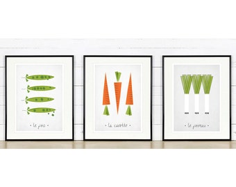 Vegetables retro poster, kitchen art, carrots, peas, leeks, minimalist design, French, kitchen picture, art print, wall decor, A4 or 8x10