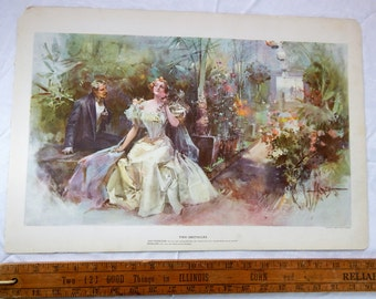 Antique 1896 W Granville Smith TWO OBSTACLES Print