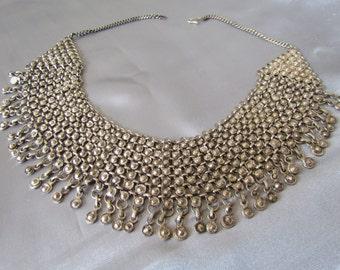 Vintage Ethnic Necklace, Bib Necklace, Silver alloy