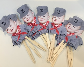 Birthday Photo cupcake toppers. Train conductor with scarf