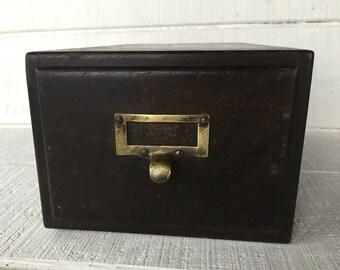 Vintage 1920s old antique Macey brand wooden card catalog Oak file drawer cabinet storage Vintage Wooden Macey library file cabinet Drawer